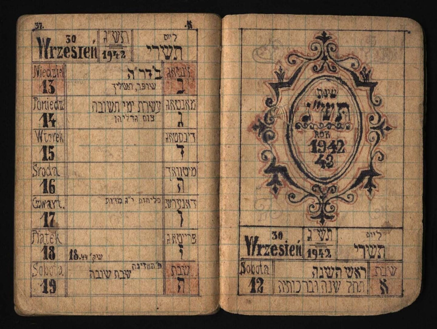 """<p>Rabbi Shlomo Yosef Scheiner's magnificently calligraphed calendar for the Jewish year <span class=""""numbers"""">5703</span>, in Hebrew, Polish, and&nbsp;Yiddish.&nbsp;</p>"""