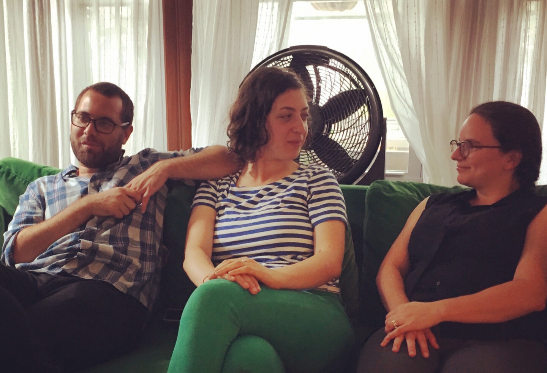 <p><em>In geveb</em> editors Ze'ev Duckworth, Diana Clarke, and Jessica Kirzane, sharing physical—rather than digital—space this&nbsp;summer.&nbsp;</p>