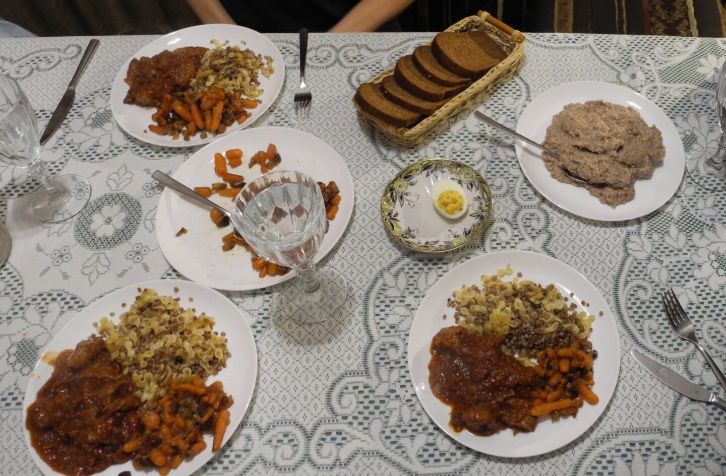 <p>The remains of a&nbsp;lunch at Café Jerusalem in Lviv. All pho­tos cour­tesy Emma Claire Foley and Guy&nbsp;Tabachnik.</p>