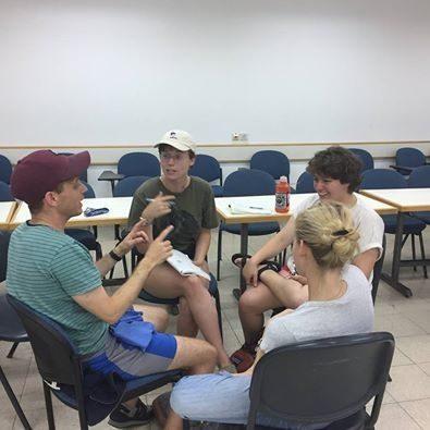 <p>Yonasn Rafoel Balling, Teddy Schneider, Leil Green and Jess Pollock, students at the 2017 Naomi Prawar Kadar International Yiddish Program in Tel Aviv, recording the Queer in Yiddish episode of&nbsp;<em>Vaybertaytsh</em></p>