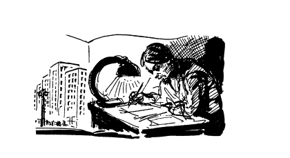 "<p>Illustration of <span class=""push-double""></span><span class=""pull-double"">""</span><em>Der Folks Lerer</em>"" from Davidman, Solomon. <em>Der Idisher Lerer. </em>New York: Service Bureau of Jewish Education,&nbsp;<span class=""numbers"">1969</span>.</p>"