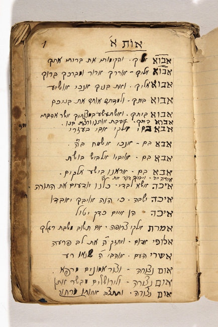 "<p>Notebook of Israel Kessler, a <em>badkhn</em> (wedding entertainer) containing an alphabetically arranged list of words and phrases excerpted from various parts of the Bible, psalms, Prophets, starting with the letter Aleph (first letter of the Hebrew alphabet). Handwritten, Hebrew. Source:&nbsp;<a href=""http://polishjews.yivoarchives.org/archive/index.php?p=digitallibrary/digitalcontent&id=2481#""><span class=""caps"">YIVO</span></a></p>"