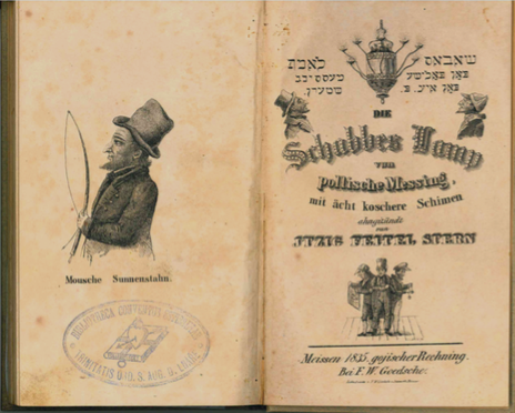 <p>Title Page for <i>The Shabbes Lamp </i>by Itzig Feitel Stern. Scan courtesy of Center for Jewish History research librarian Tyi-Kimya&nbsp;Marx.</p>