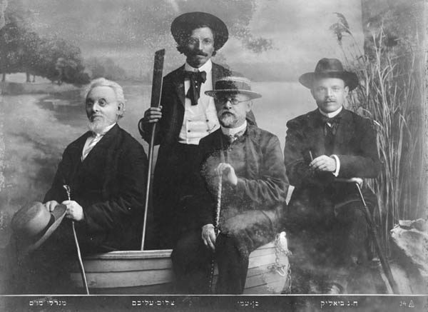 <p>From left to right: Mendele Moykher Sforim, Sholem Aleichem, Ben-Ami, Hayyim Nahman Bialik </p>