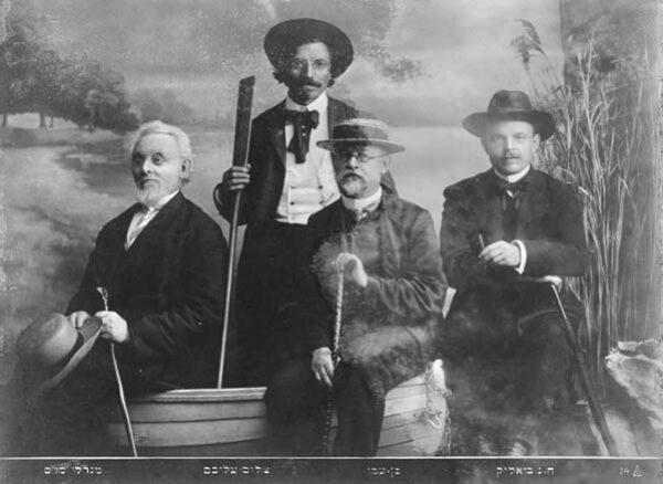 <p>From left to right: Mendele Moykher Sforim, Sholem Aleichem, Ben-Ami, Hayyim Nahman&nbsp;Bialik&nbsp;</p>