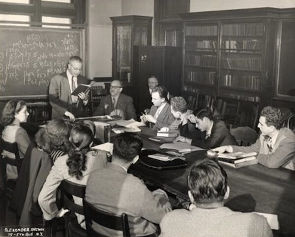 """<p>Max Weinreich teaching Yiddish at a&nbsp;seminar at the City College of New York, <span class=""""numbers"""">1947</span>. Image courtesy of&nbsp;<span class=""""caps"""">YIVO</span>.</p>"""