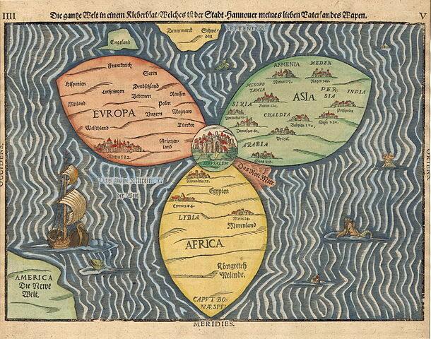 <p>The World in a&nbsp;Clover Leaf (Heinrich Bünting, via Wikimedia&nbsp;Commons)</p>