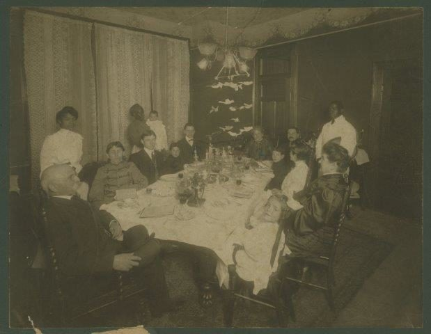 "<p>Hyman Pearlstine&#8217;s Family Seder, Charleston, <span class=""caps"">SC</span> 1904.  His grandfather Tanchum &#8220;Thomas&#8221; Pearlstine emigrated from Trzcianne, Poland (Russian Empire) in 1856. Courtesy of the Special Collections, College of&nbsp;Charleston. </p>"