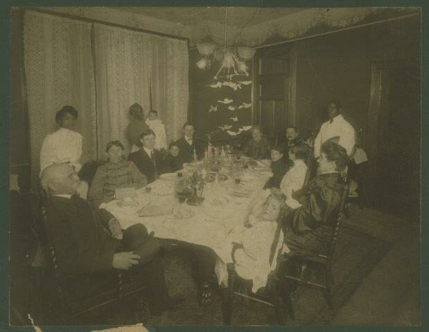 """<p>Hyman Pearlstine's Family Seder, Charleston, <span class=""""caps"""">SC</span> <span class=""""numbers"""">1904</span>. His grandfather Tanchum <span class=""""push-double""""></span><span class=""""pull-double"""">""""</span>Thomas"""" Pearlstine emigrated from Trzcianne, Poland (Russian Empire) in <span class=""""numbers"""">1856</span>. Courtesy of the Special Collections, College of&nbsp;Charleston.&nbsp;</p>"""