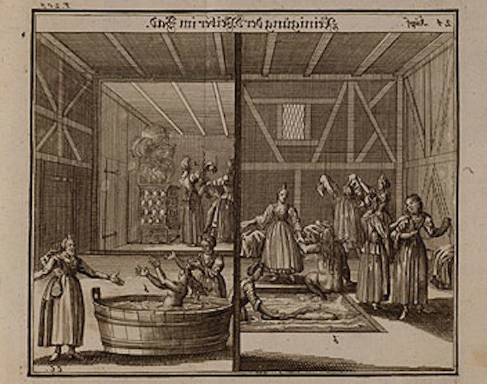 <p>Illustration of women using the mikvah, or ritual bath, from <i>Judisches Ceremonial</i> (1726). Rare Book and Manuscript Library, Columbia University.</p>