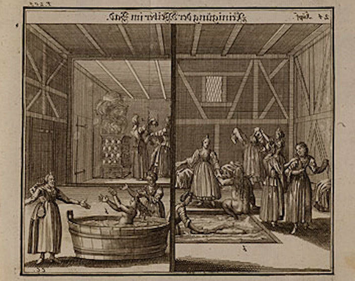 """<p>Illustration of women using the mikvah, or ritual bath, from <i>Judisches Ceremonial</i> (<span class=""""numbers"""">1726</span>). Rare Book and Manuscript Library, Columbia&nbsp;University.</p>"""
