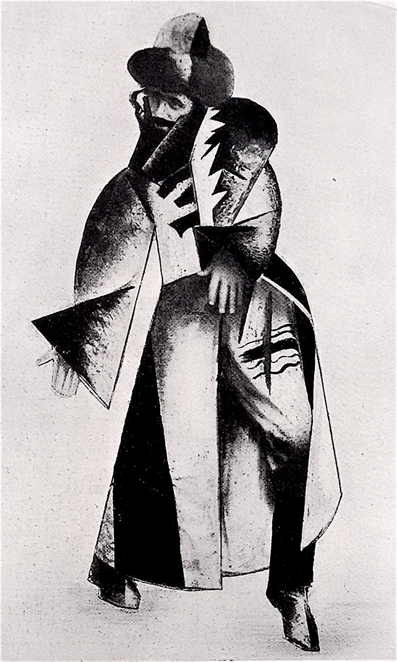 "<p>B. Aronson, ""Chassidic"" costume for a Modernist ballet by B. Agadati. From <em>Milgroym</em> 4, 1923.</p>"