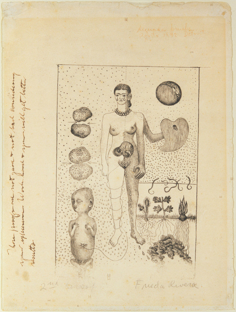 "<p>Frida Kahlo, ""Frida and the Miscarriage"" (""El Aborto"") (1932), lithograph (© <span class=""caps"">ARS</span>, <span class=""caps"">NY</span>; Museo Dolores Olmedo Patiño; photo by Schalkwijk/Art Resource,&nbsp;<span class=""caps"">NY</span>).</p>"