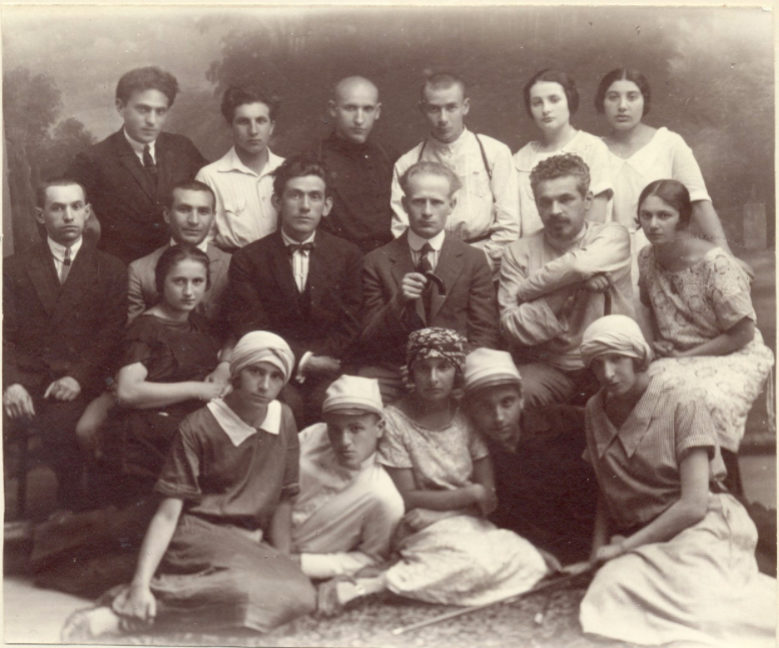 "<p>Students and teachers of the Jewish Real Gymnasium in Vilna in the 1920s, including Moyshe Kulbak, H. Leyvik, and Yakov Gershteyn. Photograph by E. Cejtlin&nbsp;(<span class=""caps"">YIVO</span>). </p><p><br></p>"
