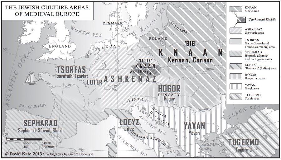 "<p>Jewish cultural areas of Medieval Europe. Via <a href=""http://dovidkatz.net/dovid/PDFLinguistics/2014_Knaanic_Medieval_Modern_Scholarly_Imagination.pdf"">dovidkatz.net</a> © Dovid&nbsp;Katz</p>"