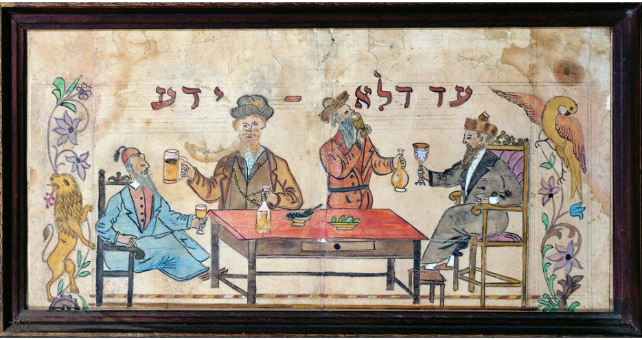 "<p ""="""">Purim painting, untitled. Safed, Israel, 19th century. Hasidic Jews 
