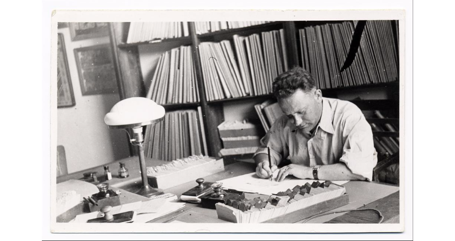 "<p>An <i>aspirant</i> (research fellow) at work in the ethnography section at <span class=""caps"">YIVO</span>, Vilna, 1930s. (courtesy of <em><span class=""caps"">YIVO</span>&nbsp;Encyclopedia</em>)</p>"