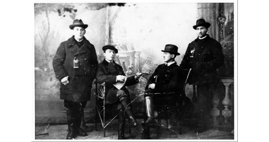 "<p>Four young men who put on a Purim play to raise money for the revival of Yiddish, Opatów, Russian Empire (now in Poland), 1905.&nbsp;(<span class=""caps"">YIVO</span>)</p>"