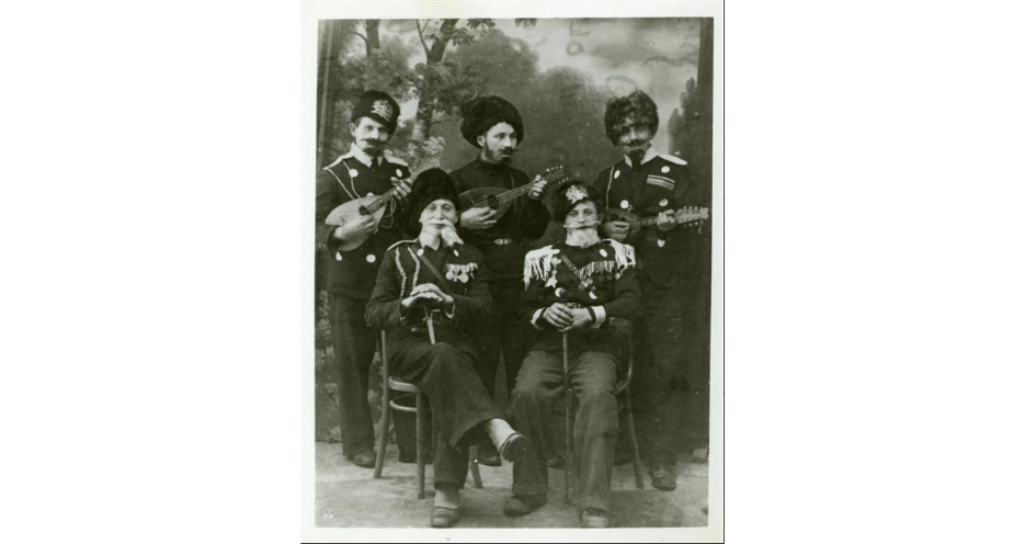 """<p>Purim-shpilers in costume, Szydłowiec, Poland, 1937.&nbsp;(<span class=""""caps"""">YIVO</span>)</p>"""