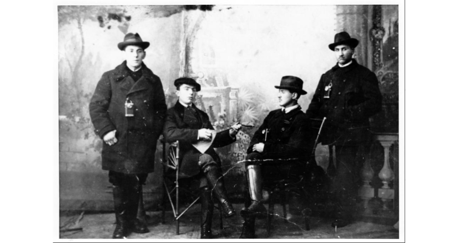"<p>Four young men who put on a&nbsp;Purim play to raise mon­ey for the revival of Yid­dish, Opatów, Russ­ian Empire (now in Poland), <span class=""numbers"">1905</span>. (<span class=""caps"">YIVO</span>)</p>"