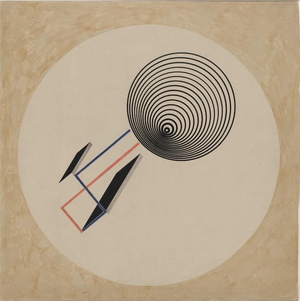 "<p>El Lissitzky, <em>Proun <span class=""numbers"">93</span></em>, circa <span class=""numbers"">1923</span>, Stiftung Moritzburg Kunstmuseum des Landes Sachsen-Anhalt Halle (Saale), <a href=""https://commons.wikimedia.org/wiki/File:Lissitzky_Proun_93.jpg"">via</a> </p>"