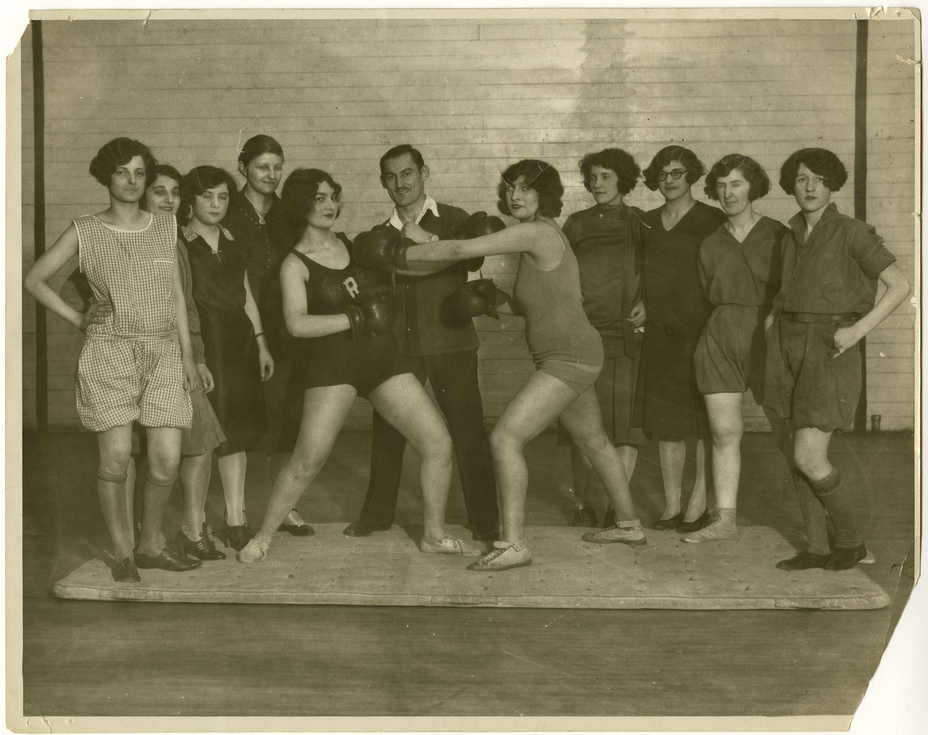 "<p &#8220;=&#8221;&#8220;>Not exactly <span class=""caps"">TPR</span>, but close. Girls Boxing Class at the <span class=""caps"">YMHA</span> of Washington Heights, c. 1920., courtesy of the American Jewish Historical&nbsp;Society </p>"