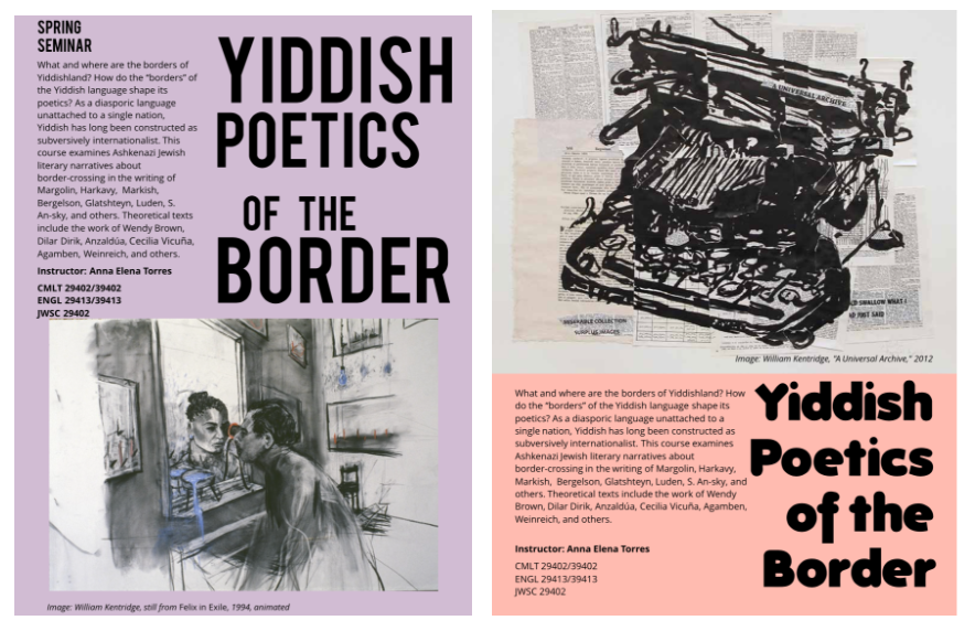 <p><em>My posters used art by William Kentridge to r</em><em>epresent</em> <em>the </em><em>themes of the course</em></p><p><em><br></em></p>