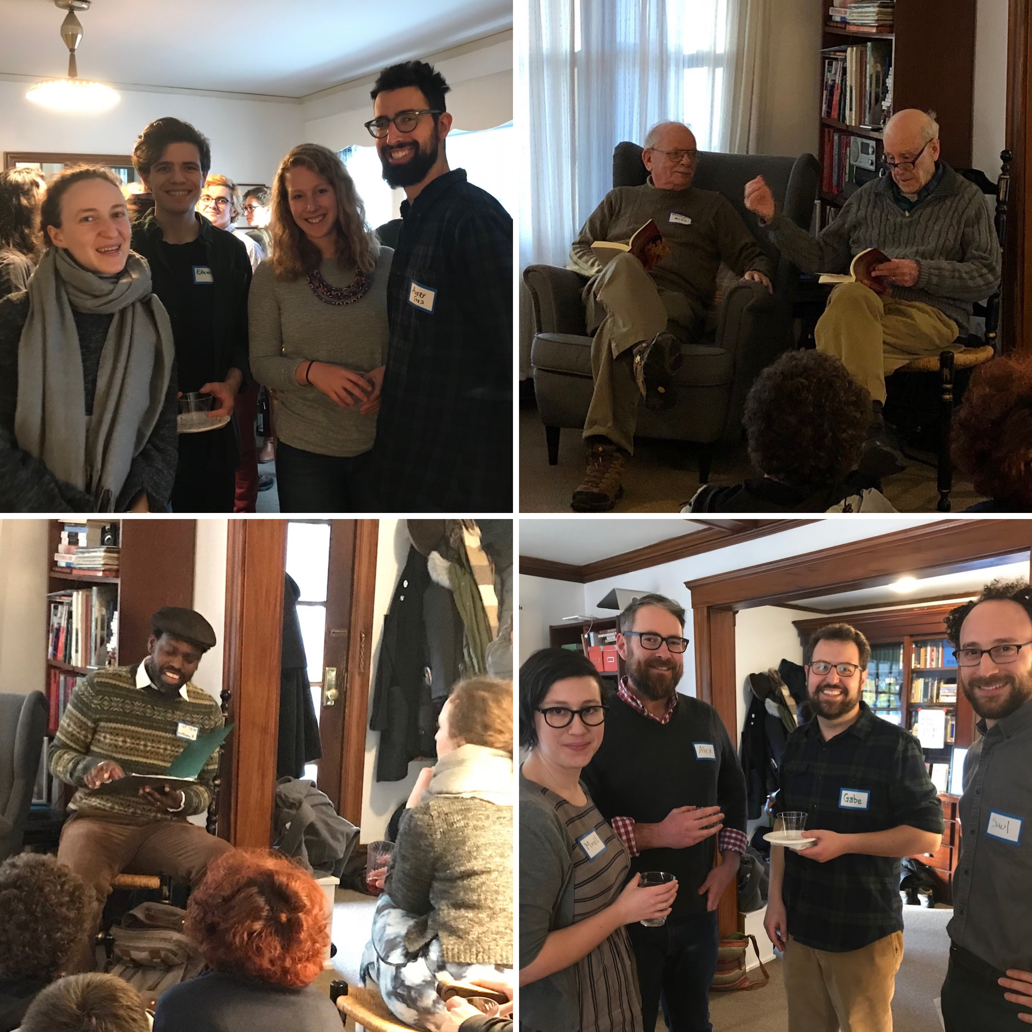 <p>Spotted at our Belmont party, clockwise from top left: two mavens of Yiddish song, Reyna Schaechter and Leah Reis-Dennis; Solon Beinfeld and Richard J. Fein read Sutzkever; editors Madeleine Cohen and Saul Zaritt work on their shmooze; and Anthony Russell performs songs from his new album. </p>