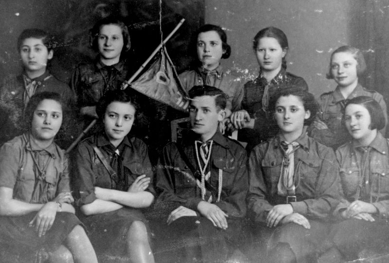 "<p>Betar Zionist youth in Bedzin, Poland, circa 1938. <a href=""https://collections.ushmm.org/search/catalog/pa1083773"">via</a> United States Holocaust Memorial Museum</p>"