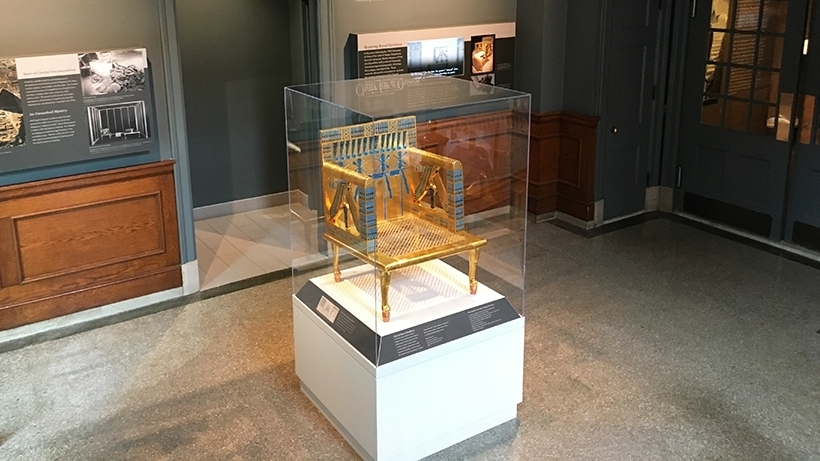 "<p>This <a href=""https://semiticmuseum.fas.harvard.edu/recreating-throne-of-egyptian-queen-hetepheres"" target=""_blank"">recreation of Queen Hetepheres&#8217; throne</a> is on display outside Chief Editor Mindl Cohen&#8217;s new office in the Semitic Museum of Harvard, she wonders if it wouldn&#8217;t make a nice chair for a Yiddish&nbsp;instructor&#8230;</p>"