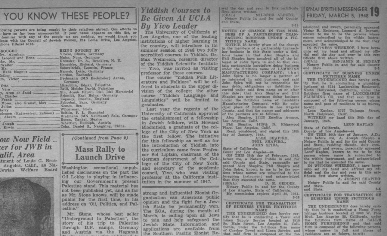"""<p>article announcing Yiddish courses at <span class=""""caps"""">UCLA</span>, March <span class=""""numbers"""">5</span>, <span class=""""numbers"""">1948</span>, <em>B'nai B'rith&nbsp;Messenger.</em></p>"""