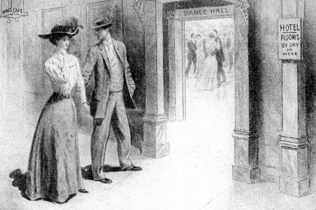 <p>illustration of a dance hall, circa 1910, via Wikimedia&nbsp;Commons</p>