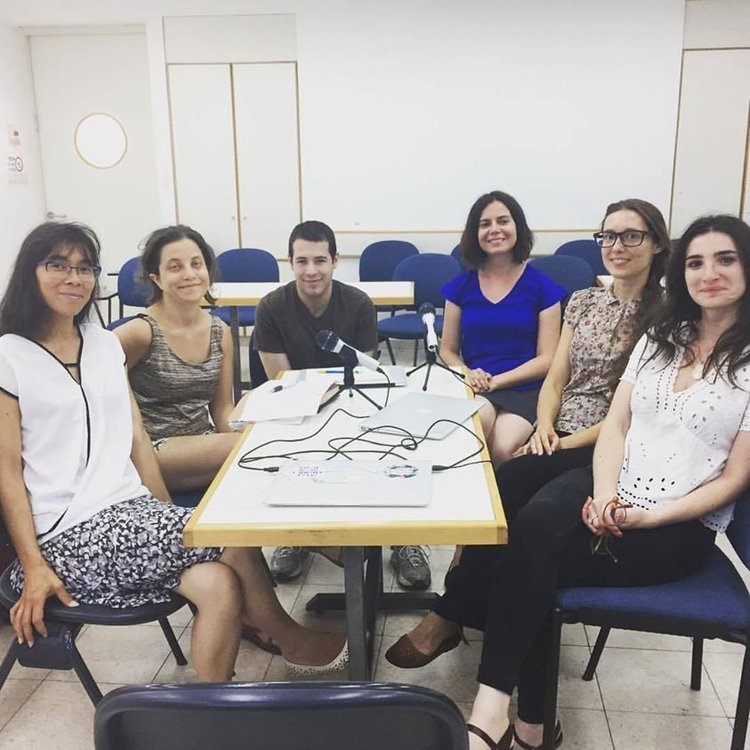 "<p><span class=""dquo"">""</span><a href=""http://www.vaybertaytsh.com/episodes/2017/8/1/farvos-yiddish-academics"">Mamaloshn Academy?</a>"" participants in a happy post-recording moment. Photo by Sosye Fox</p>"