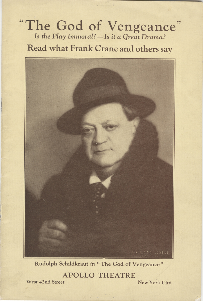 "<p>After the cast of <em>God of Vengeance</em> was arrested when the play appeared on Broadway in 1923, lead actor Rudolph Schildkraut commissioned a pamphlet on the morality of the play. via <a href=""https://mcnyblog.files.wordpress.com/2012/06/30_170_12.jpg"">The Museum of the City of New York</a></p>"