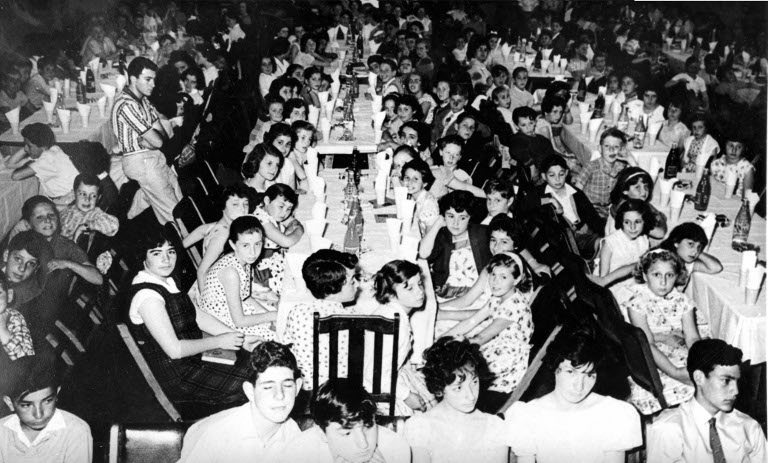 "<p>Children at the <span class=""caps"">I.L.</span> Peretz School annual breakup party and speech day, December 1960.  Courtesy of the Yiddish Melbourne project of <a href=""http://future.arts.monash.edu/yiddish-melbourne/"">the Australian Centre for Jewish Civilisation, Monash&nbsp;University</a>.</p>"
