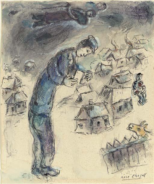<p>Marc Chagall, <em>L&#8217;auteur Mendel Mann dans son village </em>(1969)</p>