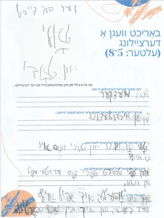 <p>Yossele Niborski's book&nbsp;report</p>