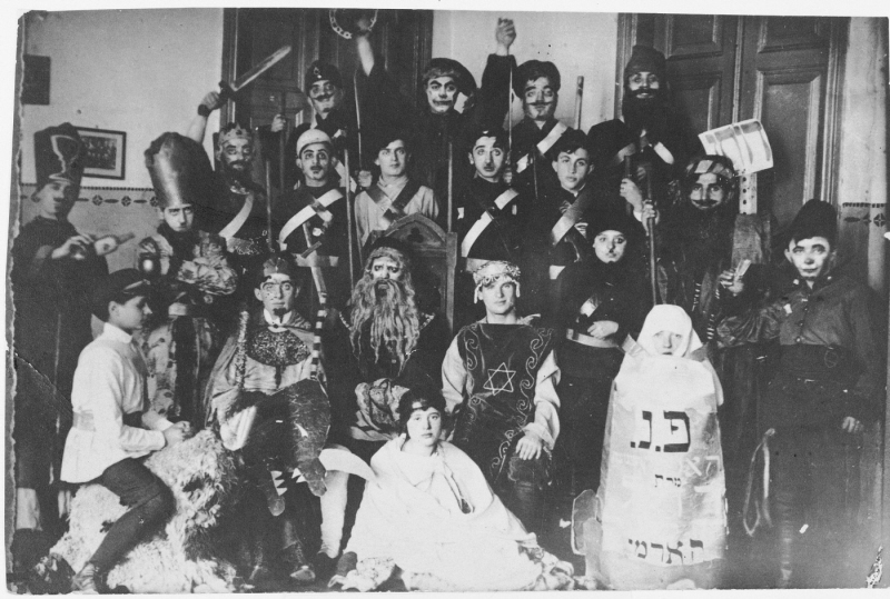<p>Students from the Vilner Lerer Seminar (Yiddish Teachers&#8217; Seminary) perform a Purim play, circa 1924.  Photo Source: United States Holocaust Memorial&nbsp;Museum</p>