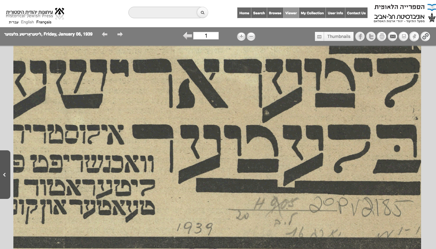 <p><em>Literarishe bleter</em> accessed through the Historical Jewish Press&nbsp;website.</p>