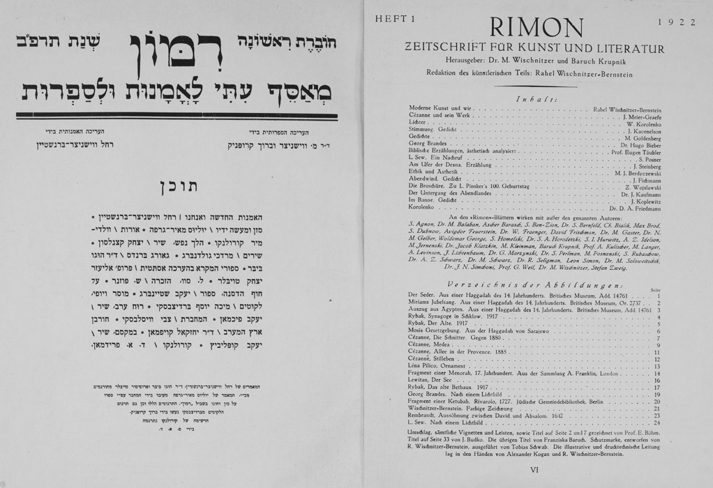 <p>Table of Contents for <em>Rimon</em>, issue 1, in Hebrew and&nbsp;German</p>