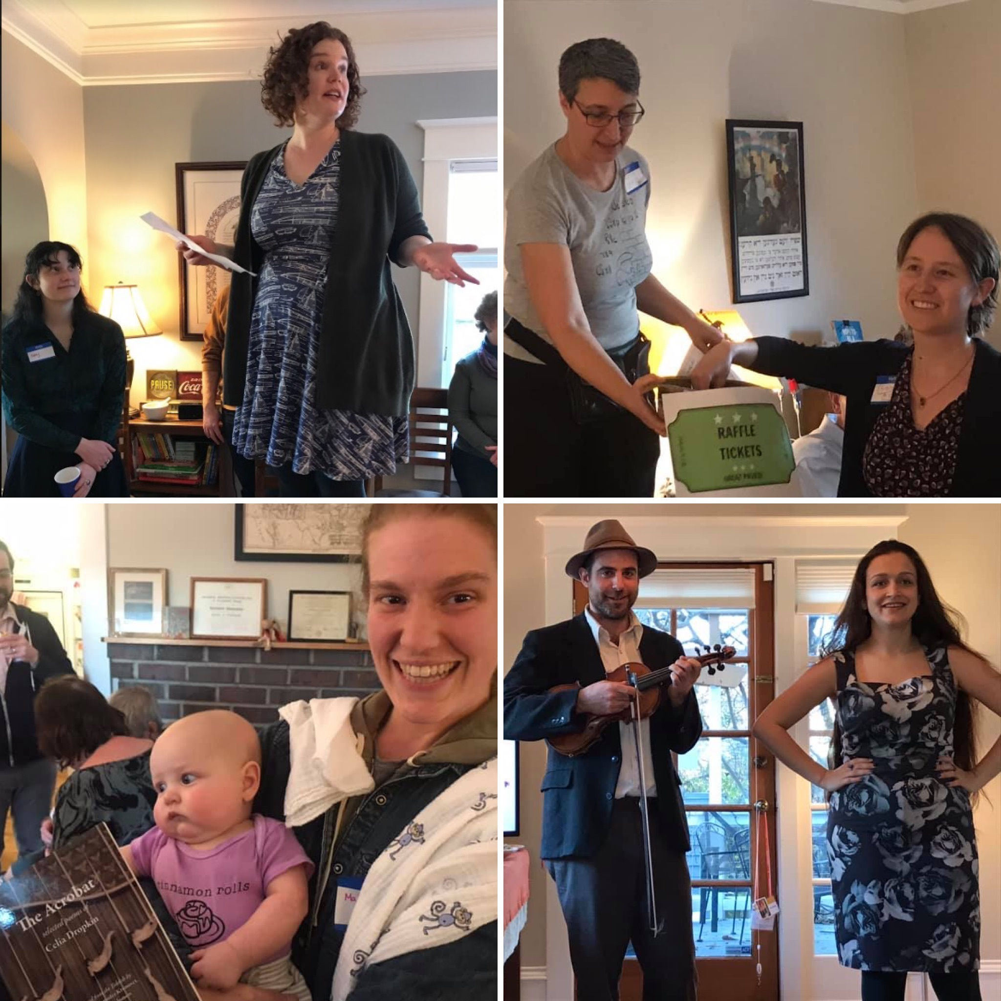 <p>At our Seattle party, clockwise from top left: editorial board member Sarah Zarrow explains the deal with <em>In geveb</em>; expert raffle organizer Faith Jones is assisted in the draw by Liora Halperin; Craig Judelman and Sasha Lurje perform; and young readers have their eyes opened by Celia Dropkin.</p>