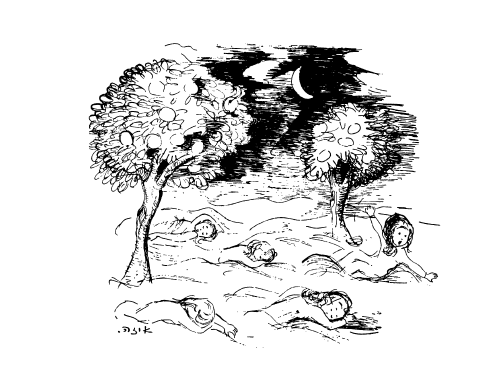 <p>Illustration from Levin Kipnis, <em>Untern Teytlboym</em> (1961), illustrated by&nbsp;Isa.</p>