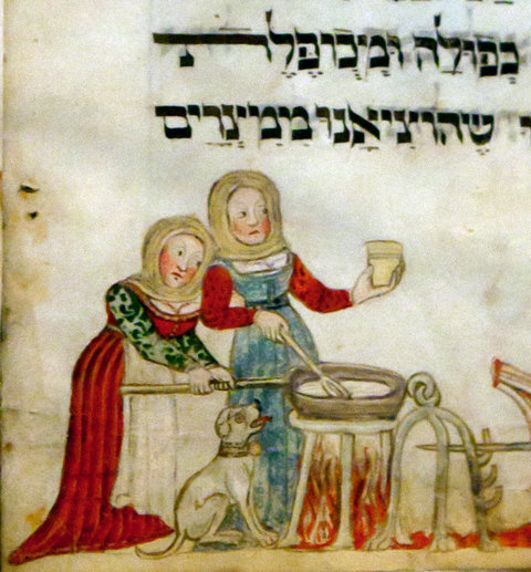 "<p><em>arbetn</em> <em>vi a yidene far peysekh</em> – to work like a Jewish woman before Passover. Image from a 1478 Haggadah manuscript known as the ""Washington Haggadah,"" credit: Library of Congress and Harvard University Press, 2011, via the <a href=""http://www.nytimes.com/slideshow/2011/04/18/arts/design/20110418-museum.html"">New York Times</a>.</p>"