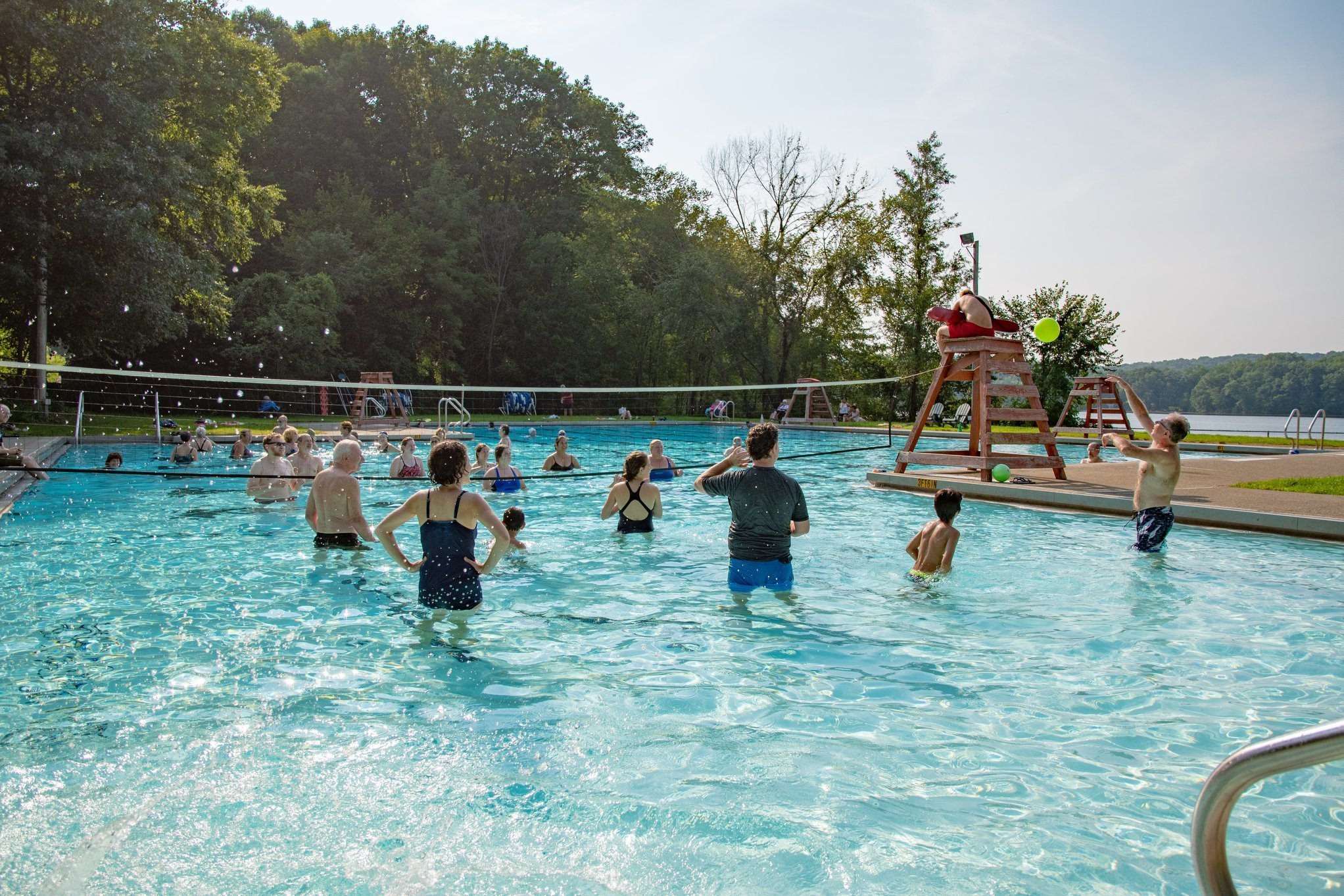 <p>Participants play in the pool at Trip to Yiddishland 2018, courtesy of The Workmen&#8217;s&nbsp;Circle.</p>