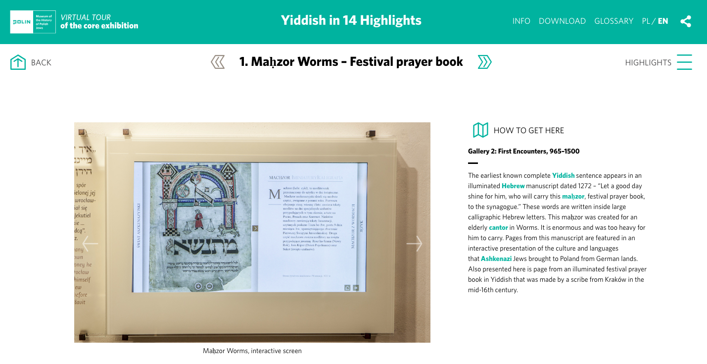 "<p>Screenshot from the virtual tour, <a href=""http://virtualtour.polin.pl/sciezka/yiddish/"" target=""_blank"">&#8220;Yiddish in 14&nbsp;Highlights&#8221;</a></p>"
