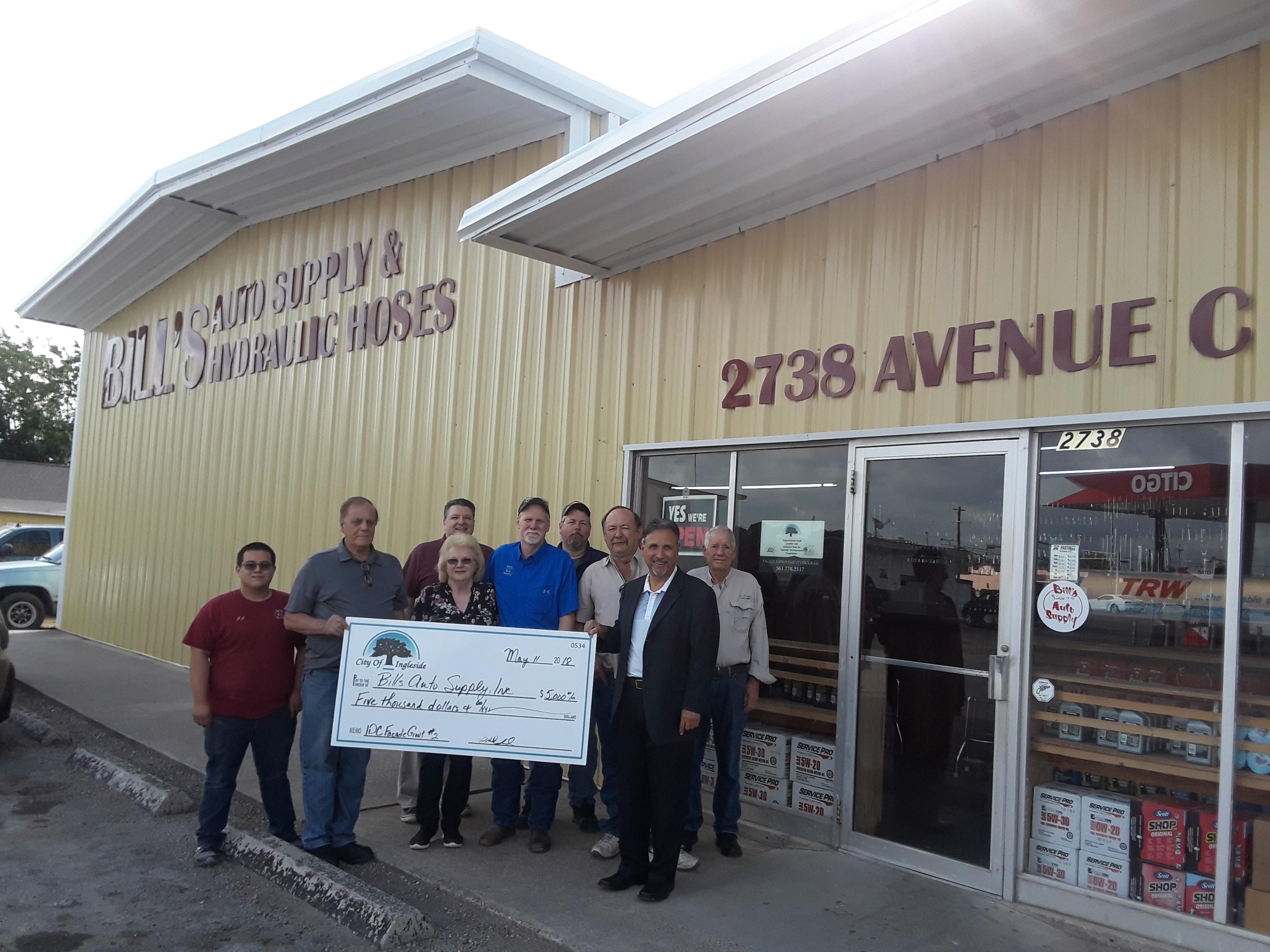 Bill's Auto Supply receives grant.