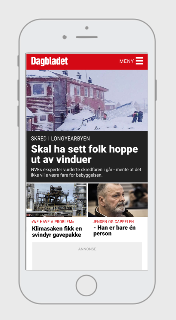 Dagbladet.no / redesign of the front page