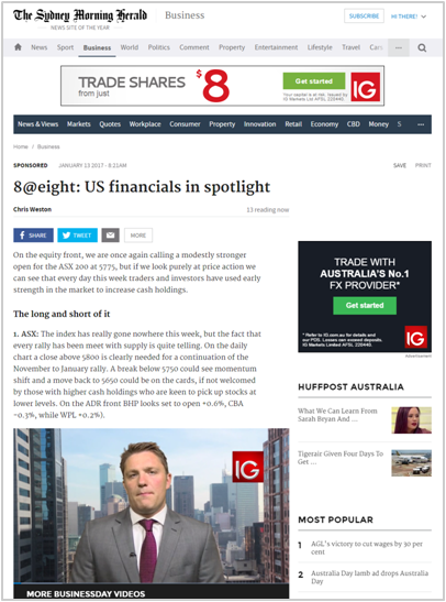 IG and BusinessDay - 8@eight market and trading content partnership