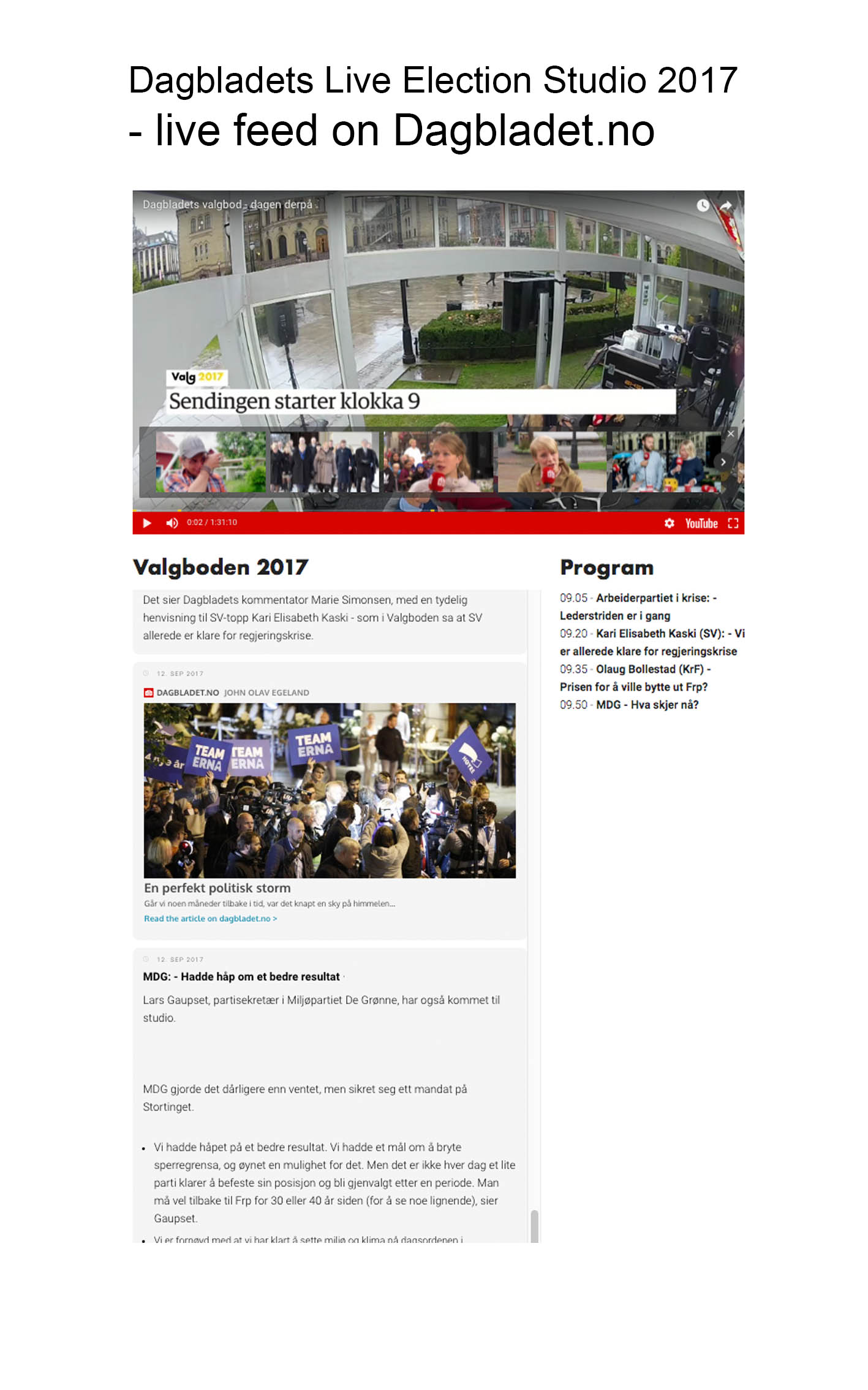 Dagbladets Election Studio 2017
