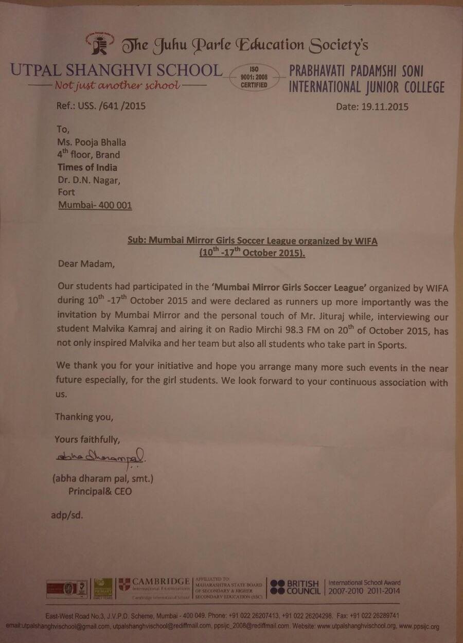 Mumbai Mirror Girls Soccer League